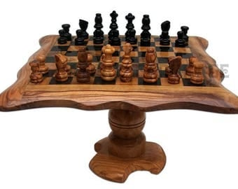 Low 25 cm olive wood chess table. Olive wood chess board set