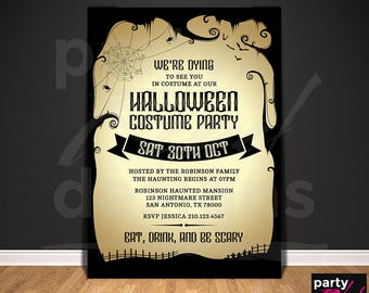Halloween Invitation Printable Halloween Costume Party Trick or Treat October Autumn Holiday Party Spiders Eat Drink and Be Scary HW09