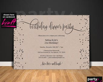 Dinner invitation etsy birthday dinner invitation template birthday party 21st birthday kraft dinner invitation birthday stopboris Image collections