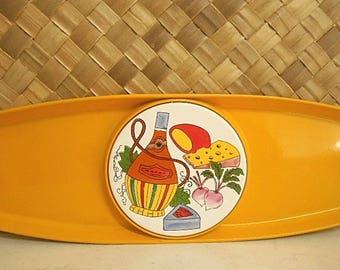 Retro Cheese Platter with Tile Insert ~ 1960s Serving