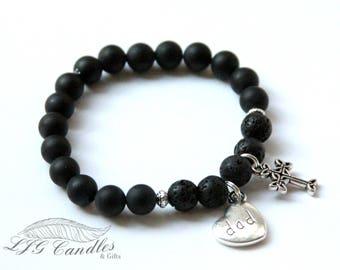 Custom Handmade Diffuser Bracelet, Black Onyx, Memorial Bracelet, Diffuser Jewelry, Sympathy Gift, Bereavement Gift, Loss of Loved One