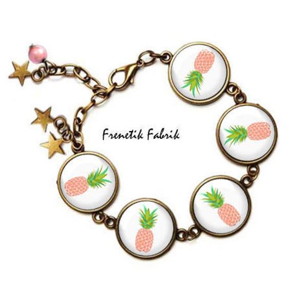 bracelet ananas rose bijoux fantaisie boheme kitsch. Black Bedroom Furniture Sets. Home Design Ideas