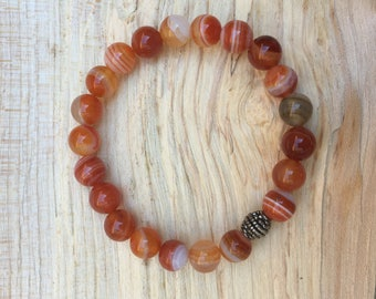Gemstone skull braceled red striped agate
