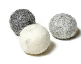 Cat Toy Felt Balls Set of 3, 10 or 20 Felted Wool Balls in Gray and White Cat Christmas gift