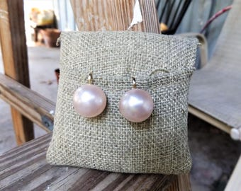 Pink Faux Pearls Button Clip on Earrings, Signed Hong Kong