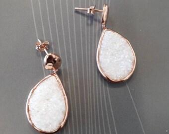 trardrop druzy earrings, rose gold vermeil, white druzy stone,  925 sterling silver