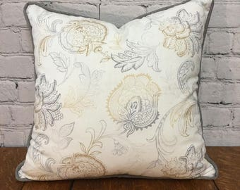 White Yellow and Gray Floral Pillow Cover w/ Zipper and Gray Cording, 20x20, Gray Floral Pillow Cover, Yellow Floral Pillow