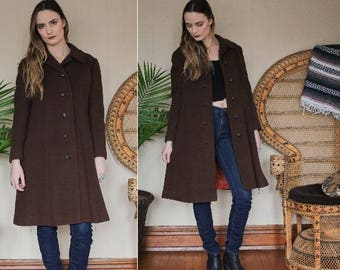 vintage 1960s 1970s brown wool swing coat / cozy warm button up long knee length winter jacket / size small medium / retro chic
