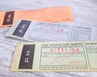 3 x Vintage Bus Tickets NYC New York NY Bruckner Williams Bridge 10th Ave 1950 Transportation Ephemera