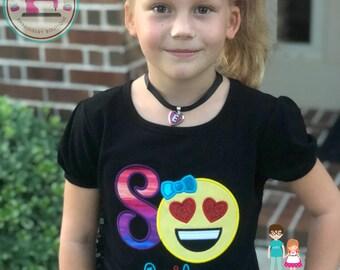 Girls Emoji Birthday Shirt, Love Eyes Emoji Birthday Shirt, Emoji Applique Shirt, Monogrammed Birthday Shirt, Girls Birthday Shirt, Emojis