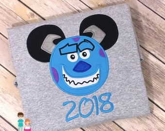 Sully Mouse Head Shirt, Character Inspired Mouse Sully Blue Monster Applique Shirt, Monsters Inc Inspired Matching Family Shirt, Sully