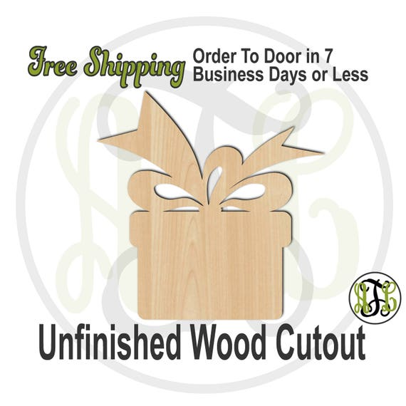 """Gift Box- 2"""" to 6"""" Minis- 180008- Small Wood Cutout, unfinished, wood cutout, wood craft, laser cut shape, wood cut out, ornament"""