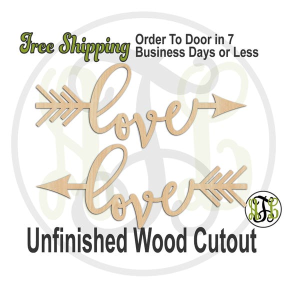 love Directional Arrows - 110028-29- Wedding Cutout, unfinished, wood cutout, wood craft, laser cut sign, direction arrow, tribal, wall art