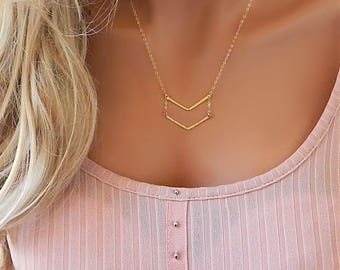 Double Chevron Necklace, V Necklace, Gold, Rose Gold or Silver Geometric, Gold Bar, Hammered Chevron, Girlfriend Gift, Minimalist [425]