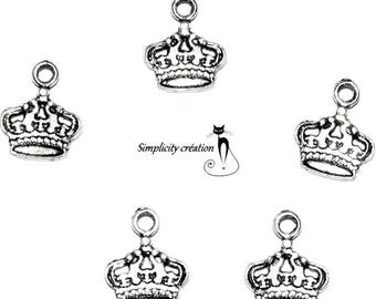 Crown, set of 4 silver plated charm