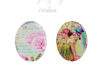 "Oval resin cabochon ""fashion and retro roses ' set of 2 40 x 30mm"