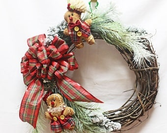 Gingerbread Man Grapevine Wreath, Christmas Grapevine Wreath, Holiday Grapevine Wreath