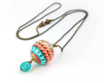 Long colorful necklace, romantic ball light opalescent coral, gift for her, mother's day, birthday