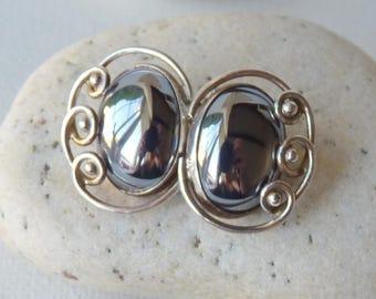 Hematite Sterling Silver Clip On Earrings Art Deco Oval Hematite Earrings, Retro Earrings, Elegant Earrings, Hematite Clips,Cilp On Sterling