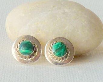 Southwestern Malachite Sterling Silver Earrings, Vintage Native American Earrings, Green Navaho Stud Malachite 925 Pierced Malachite Jewelry
