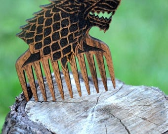 ON SALE Game of Thrones Dire Wolf Comb Wooden Beard Hair Mustache House stark Winter is coming Geek Birthday Gift for Boyfriend Brother Dad