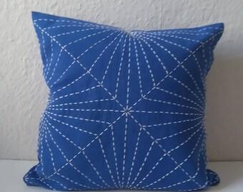 "Sashiko, japanes embroidery ""hishi shippo"" on pillow, blue cotton"