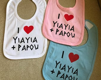 I LOVE Yiayia and Papou - Children's Infant Greek Feeding Bibs -