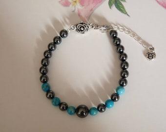 Genuine turquoise and hematite Beads Bracelet