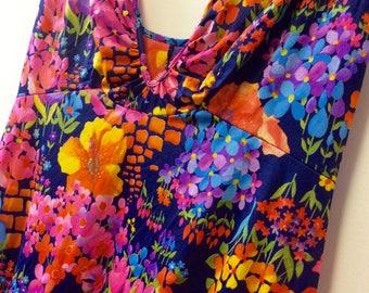 1970s slinky bright floral sundress XS
