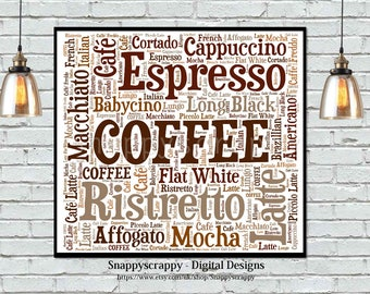 Coffee Wordart, Coffee Typography, Printable Image, Coffee Lovers, Print  your own coffee wordart