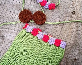 Hawaiian Baby Outfit, Baby Hula Skirt, Luau Baby Costume, Hawaii Baby, Newborn Photo Prop, Cake Smash Outfit, Crochet Hula Baby Outfit