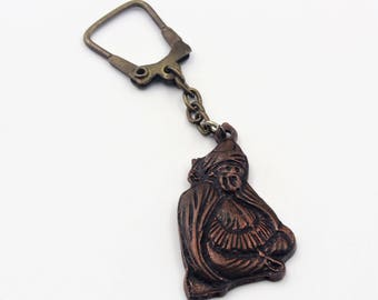 Metal Semazen, Mevlana, Mevlevi, sufi dancer, mystic whirling dervish, dancing figurine key chain. Dervish keychain. Sufi Dancer keychain