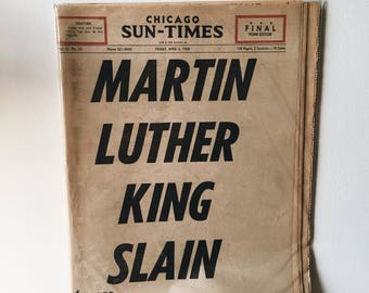 Vintage 1968 Chicago Sun Times MLK Assassination/Slain Newspaper