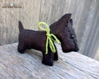 Scottish Terrier, Scottie dog, black Scottie, stuffed felt dog, soft toy, felt stuffed animal
