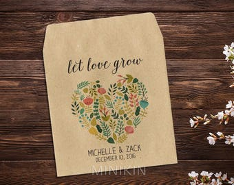 Seed Packet Favors, Rustic Wedding, Custom Seed Packets, Floral Heart, Personalized Favor, Custom Seed Wedding Favor, Wedding Favor x 25