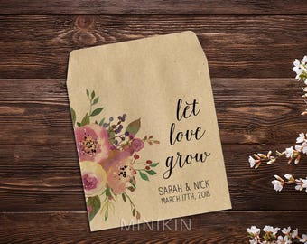 Seed Favor, Seed Packets, Rustic Wedding, Custom Seed Packets, Pink Flowers, Personalized Favor, Custom Wedding Favor, Wedding Favor x 25