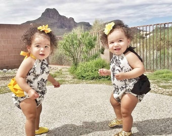Black & White Floral Baby Romper with Black or Yellow Ruffle Trim