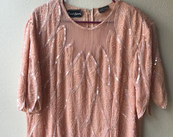 XL millenial pink vintage dress, vintage beaded dress, pink vintage beaded dress,  pink sequin dress