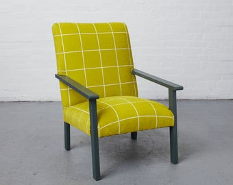 1970s Vintage Lounge Chair in lime 'Window' fabric