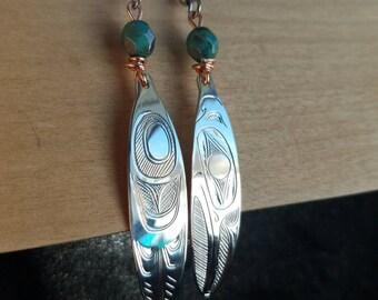 Hand engraved NWcoast hummingbird sterling silver earrings
