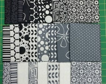 Shades of Black by  Moda/Me&MySister     26 - 1/2 Yard cuts.  Rare Find.  Free Shipping
