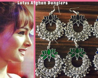 Lotus Afghan Danglers/Indian Earrings /Bollywood Trend/latest collections /Desi Style