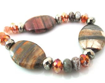 Group of beads, 21 beads, Jasper, Crystal, Pyrite, Agate, Jewelry supply B-1823