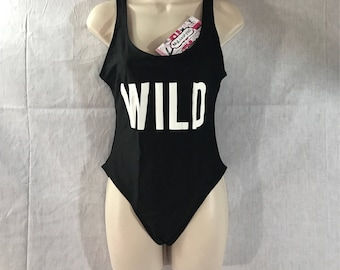 WILD Custom Word Text Women's Fashion Myluxury1st Bathing Suit Swimsuit 1 Piece US MADE Winter Body Suit Summer Pool Party Club bachelorette