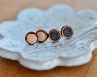 Small Brown Leather Stud Earrings | Leather Earrings