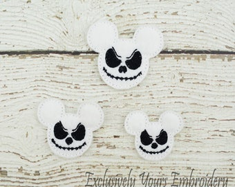 Jack Mouse Feltie Set of 4 - Hair Bow Supplies - Clippie Cover - Badge Reel Cover - Craft Supply - Scrapbook - Card Making - Planner Clip