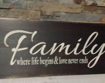 FAMILY where life begins and love never ends/FAMILY GIFT/Christmas Gift/Entrance Sign/Hostess/Housewarming/Grandparent Gift