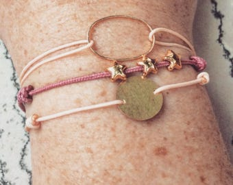 Pink and gold bracelet cuff