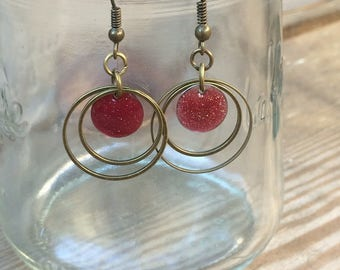 bronze earrings circles and sequin