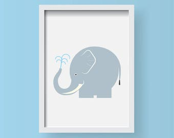 Elephant Illustration Animal A4 Print-Nursery-Home decor